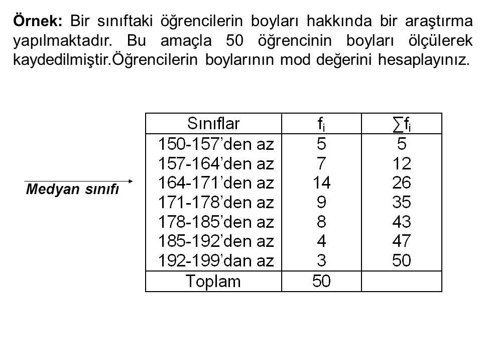 Örnek : Bir sınıftaki öğrencilerin boyları hakkında bir araştırma yapılmaktadır.