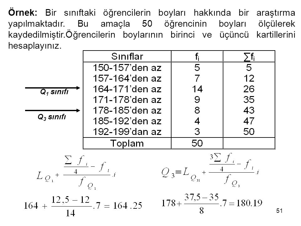 51 Q 1 sınıfı Q 3 sınıfı Örnek: Bir sınıftaki öğrencilerin boyları hakkında bir araştırma yapılmaktadır. Bu amaçla 50 öğrencinin boyları ölçülerek kay
