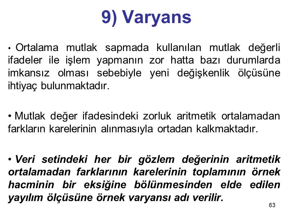 63 9) Varyans Ortalama mutlak sapmada kullanılan mutlak değerli ifadeler ile işlem yapmanın zor hatta bazı durumlarda imkansız olması sebebiyle yeni d