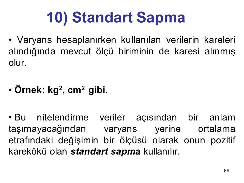 69 10) Standart Sapma Varyans hesaplanırken kullanılan verilerin kareleri alındığında mevcut ölçü biriminin de karesi alınmış olur. Örnek: kg 2, cm 2
