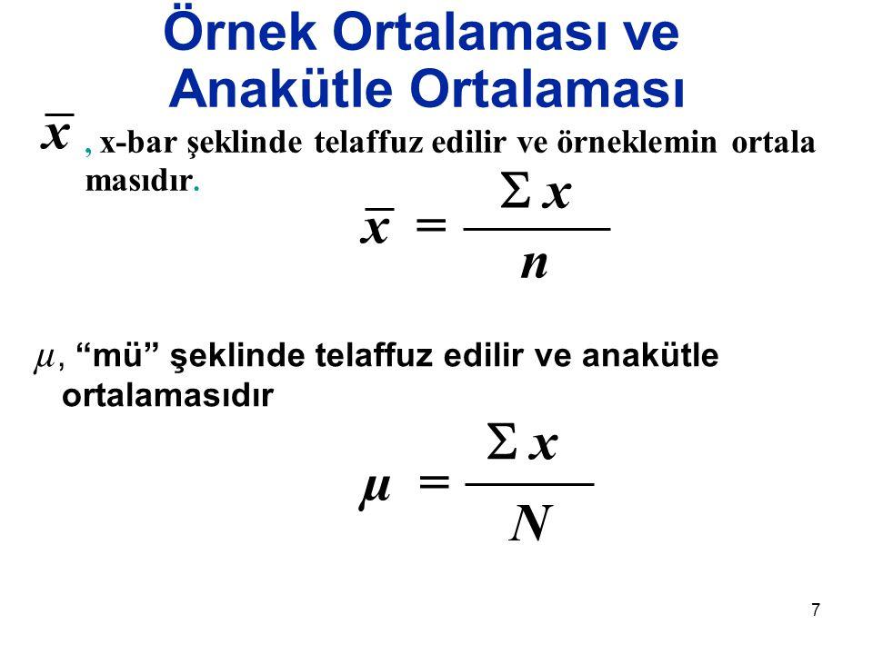"""7 Örnek Ortalaması ve Anakütle Ortalaması µ, """"mü"""" şeklinde telaffuz edilir ve anakütle ortalamasıdır x = n  x x, x-bar şeklinde telaffuz edilir ve ö"""