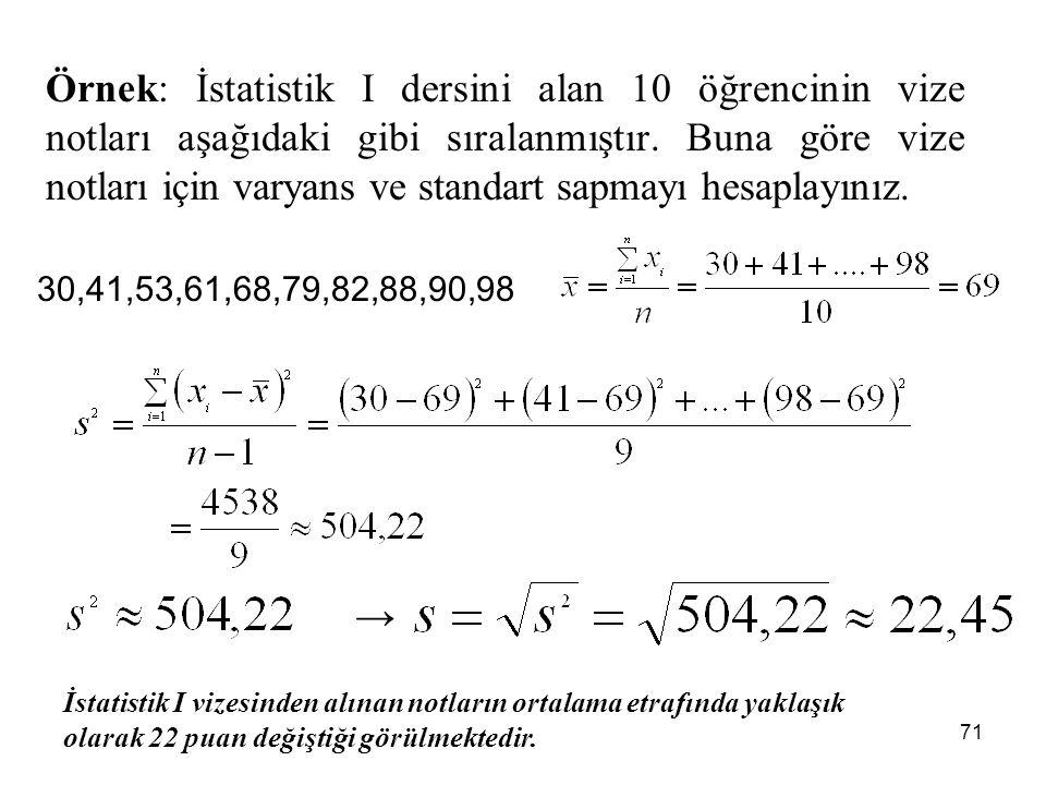 71 Örnek: İstatistik I dersini alan 10 öğrencinin vize notları aşağıdaki gibi sıralanmıştır. Buna göre vize notları için varyans ve standart sapmayı h