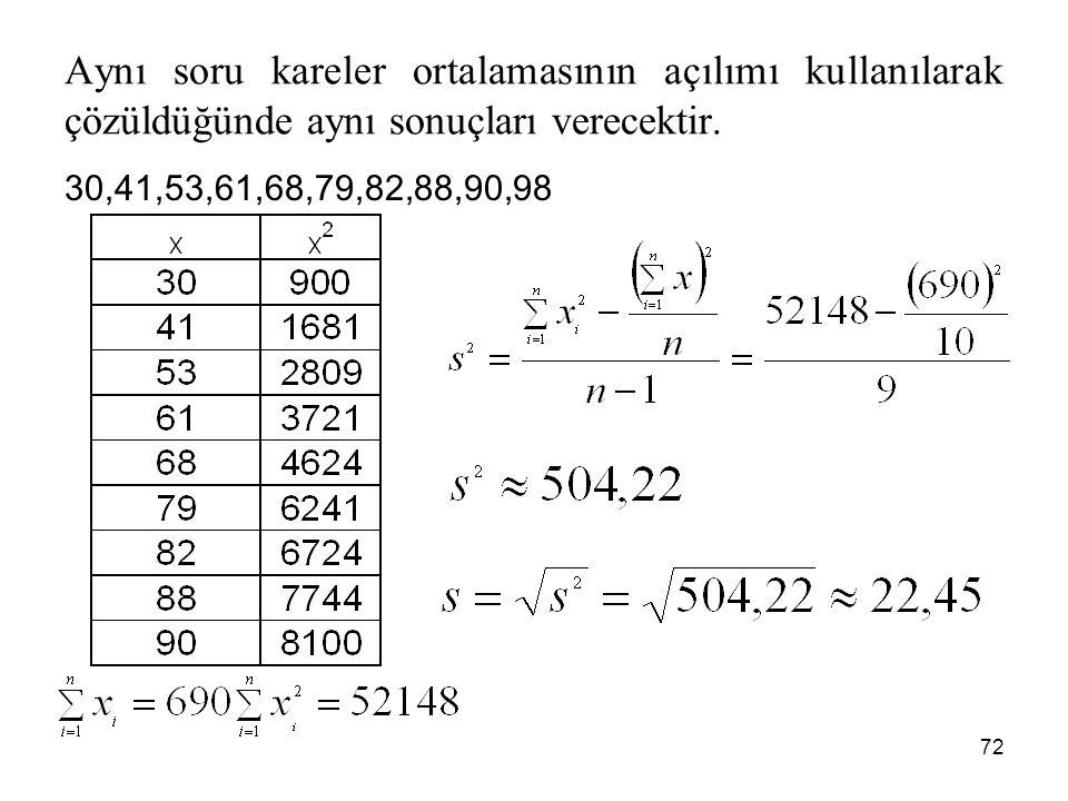 72 Aynı soru kareler ortalamasının açılımı kullanılarak çözüldüğünde aynı sonuçları verecektir. 30,41,53,61,68,79,82,88,90,98