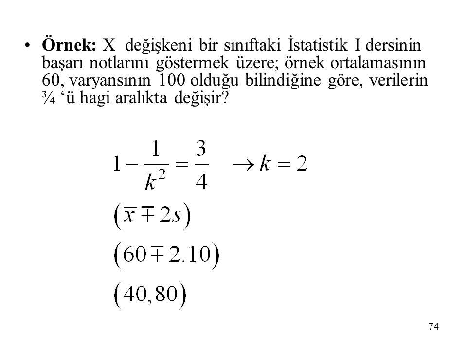 74 Örnek: X değişkeni bir sınıftaki İstatistik I dersinin başarı notlarını göstermek üzere; örnek ortalamasının 60, varyansının 100 olduğu bilindiğine göre, verilerin ¾ 'ü hagi aralıkta değişir?