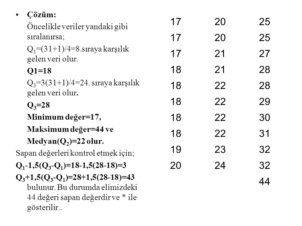 Çözüm: Öncelikle veriler yandaki gibi sıralanırsa; Q 1 =(31+1)/4=8.sıraya karşılık gelen veri olur. Q1=18 Q 3 =3(31+1)/4=24. sıraya karşılık gelen ver