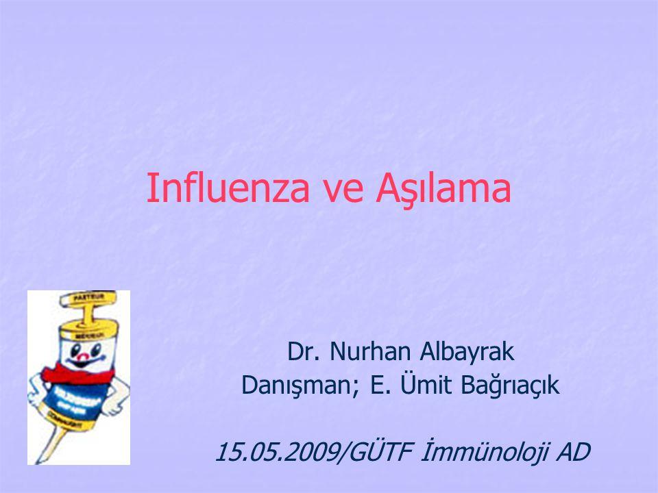Influenza ve Aşılama Dr. Nurhan Albayrak Danışman; E. Ümit Bağrıaçık 15.05.2009/GÜTF İmmünoloji AD