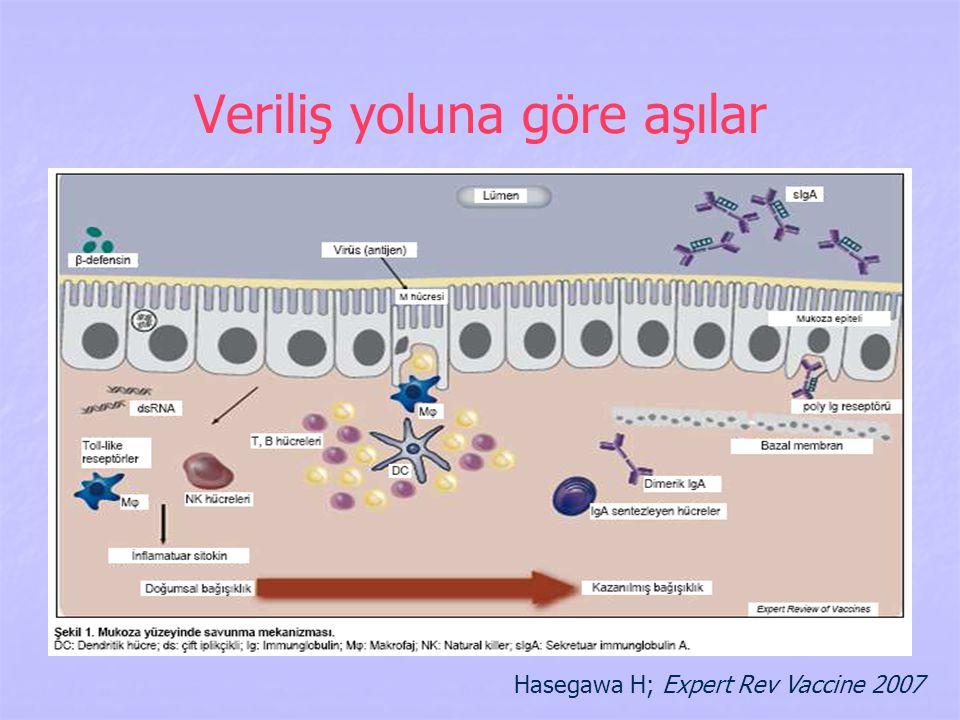 Veriliş yoluna göre aşılar Hasegawa H; Expert Rev Vaccine 2007