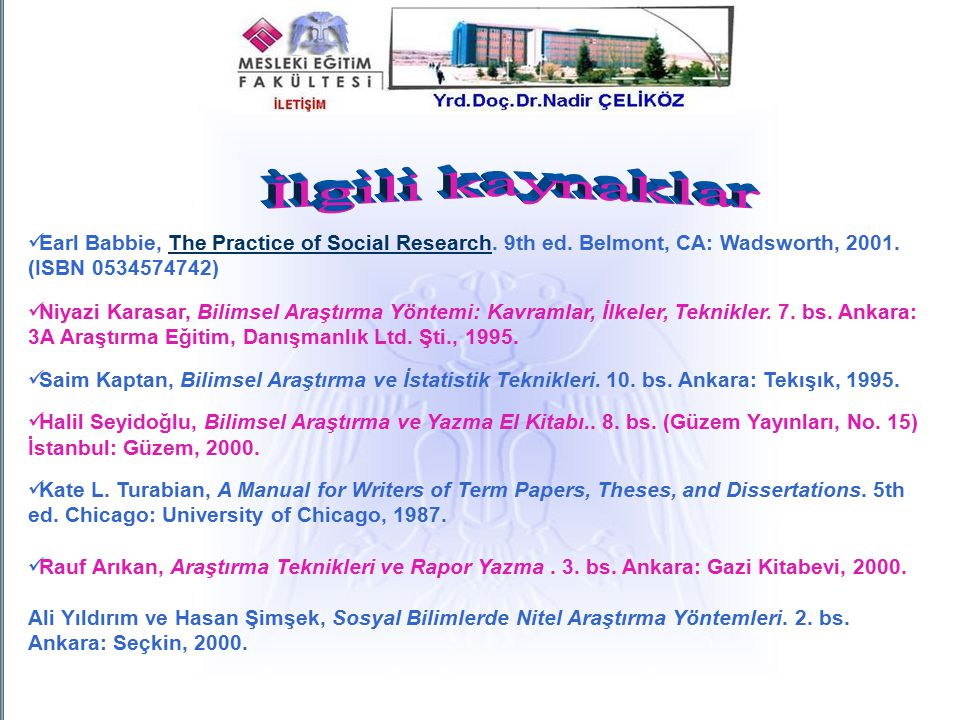 Earl Babbie, The Practice of Social Research. 9th ed. Belmont, CA: Wadsworth, 2001. (ISBN 0534574742)The Practice of Social Research Niyazi Karasar, B