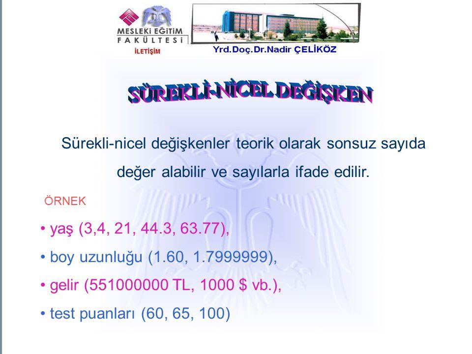 Sürekli-nicel değişkenler teorik olarak sonsuz sayıda değer alabilir ve sayılarla ifade edilir. ÖRNEK yaş (3,4, 21, 44.3, 63.77), boy uzunluğu (1.60,