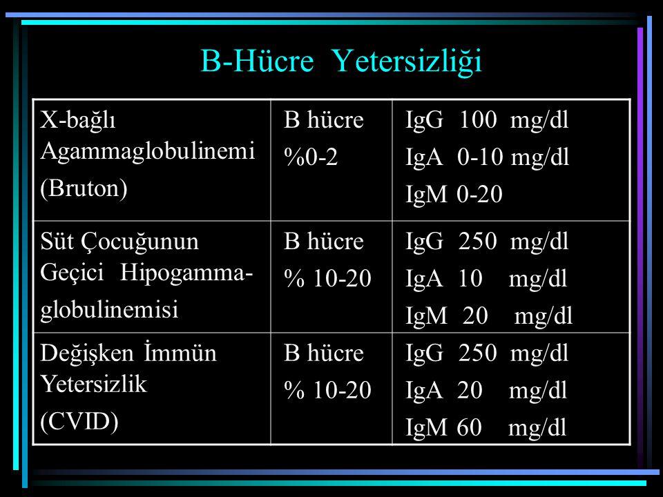B-Hücre Yetersizliği X-bağlı Agammaglobulinemi (Bruton) B hücre %0-2 IgG 100 mg/dl IgA 0-10 mg/dl IgM 0-20 Süt Çocuğunun Geçici Hipogamma- globulinemi