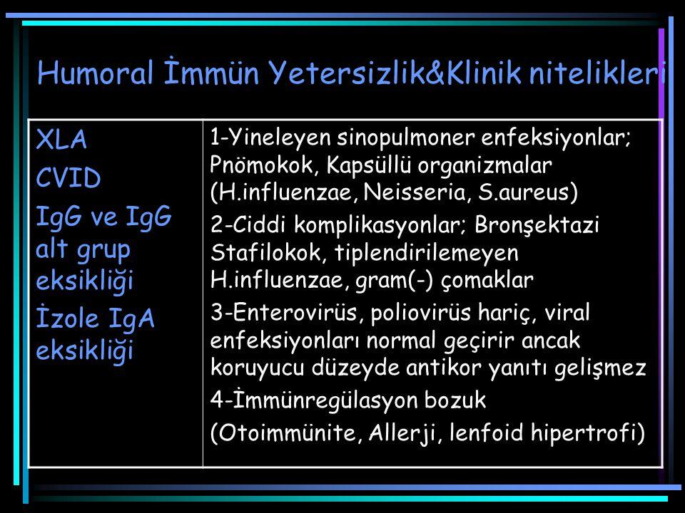 Humoral İmmün Yetersizlik&Klinik nitelikleri XLA CVID IgG ve IgG alt grup eksikliği İzole IgA eksikliği 1-Yineleyen sinopulmoner enfeksiyonlar; Pnömok