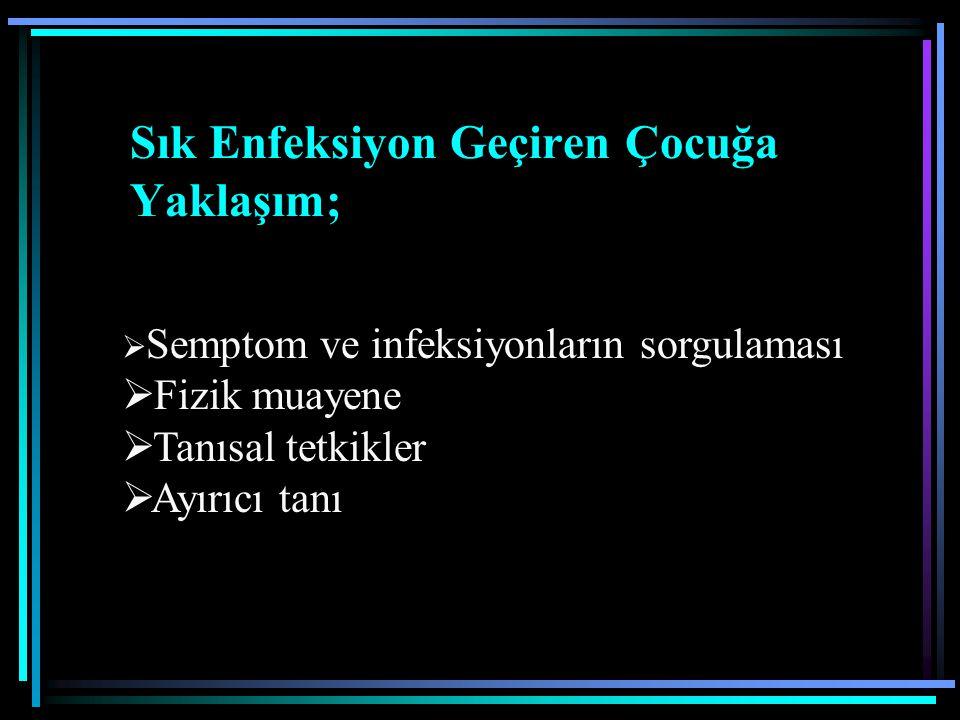 III-Diğer iyi tanımlanmış immün yetersizlikler 1-Wiskott-Aldrich sendromu 2-DNA onarım eksikliği; a) Ataksi- telenjiektazi b)Ataksi-benzeri sendromlar c) Nijmegen-breakage sendromu d) Bloom sendromu 3-Timik eksiklik ;Di George Anomalisi 4-İmmüno-ossöz displazi a)Kıkırdak saç hipoplazisi b)Schimke sendromu 5-Hermansky-Pudlak sendromu tip 2 6-Hiper IgE sendromu 7-Kronik Mukokutanöz kandidiazis