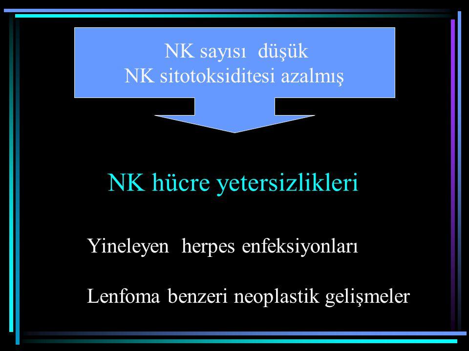 NK hücre yetersizlikleri Yineleyen herpes enfeksiyonları Lenfoma benzeri neoplastik gelişmeler NK sayısı düşük NK sitotoksiditesi azalmış