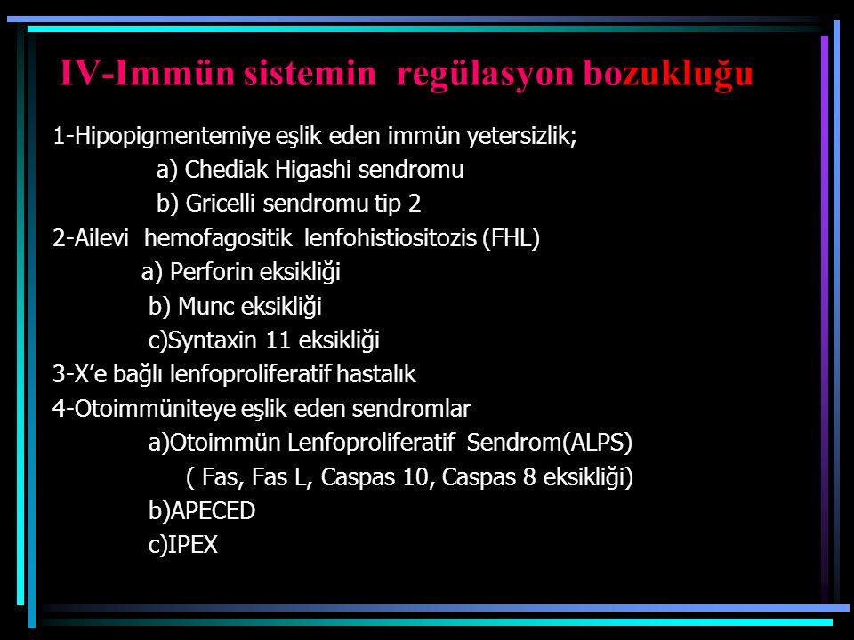 IV-Immün sistemin regülasyon bozukluğu 1-Hipopigmentemiye eşlik eden immün yetersizlik; a) Chediak Higashi sendromu b) Gricelli sendromu tip 2 2-Ailev