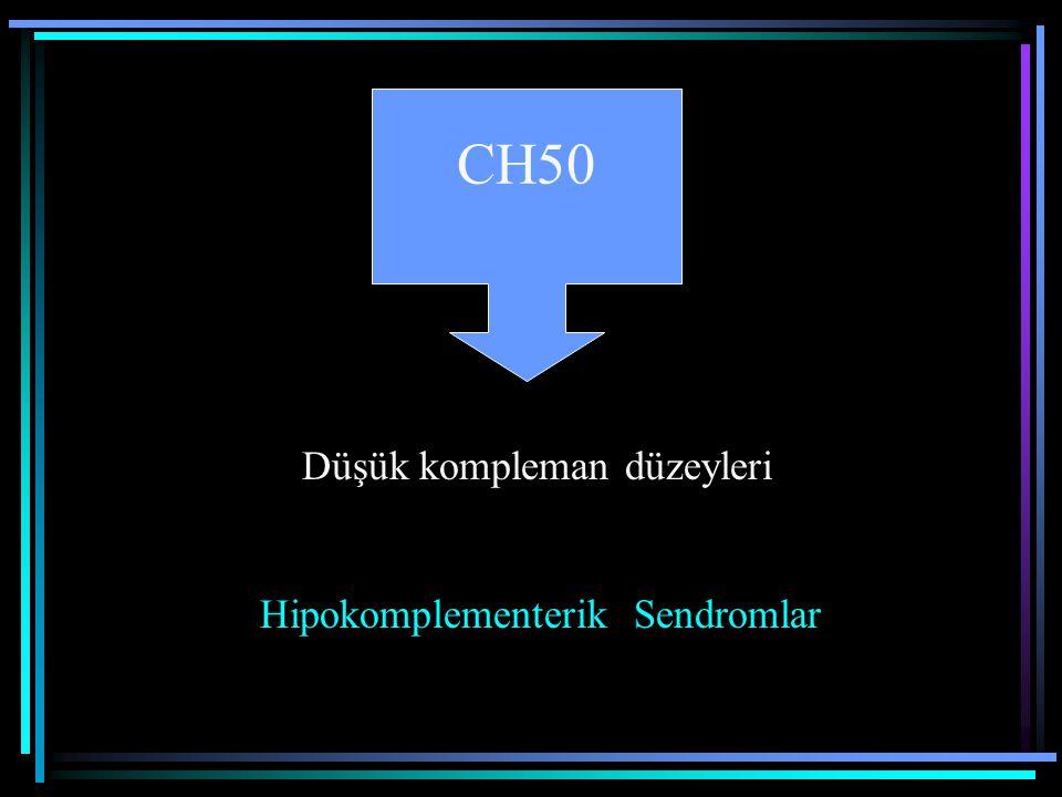 CH50 Düşük kompleman düzeyleri Hipokomplementerik Sendromlar