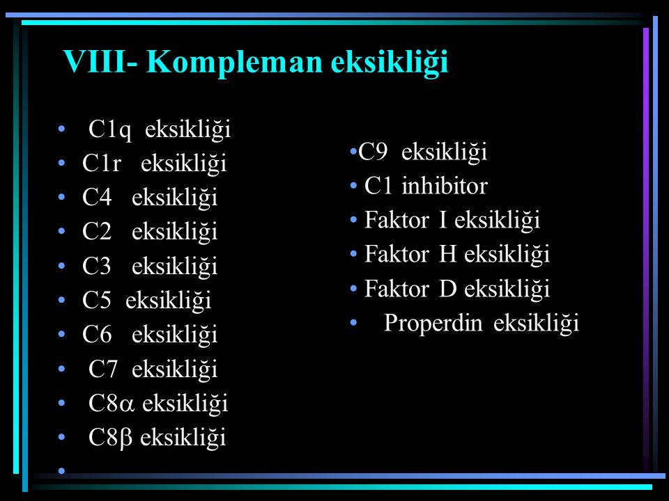 VIII- Kompleman eksikliği C1q eksikliği C1r eksikliği C4 eksikliği C2 eksikliği C3 eksikliği C5 eksikliği C6 eksikliği C7 eksikliği C8  eksikliği C8