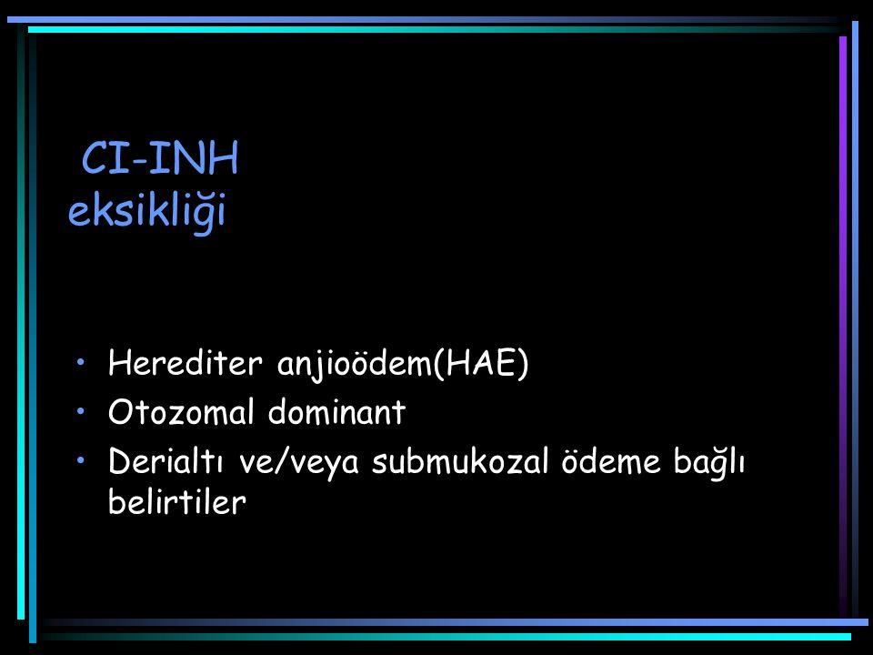 CI-INH eksikliği Herediter anjioödem(HAE) Otozomal dominant Derialtı ve/veya submukozal ödeme bağlı belirtiler