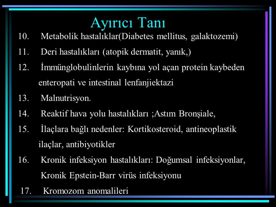 Ayırıcı Tanı 10. Metabolik hastalıklar(Diabetes mellitus, galaktozemi) 11. Deri hastalıkları (atopik dermatit, yanık,) 12. İmmünglobulinlerin kaybına