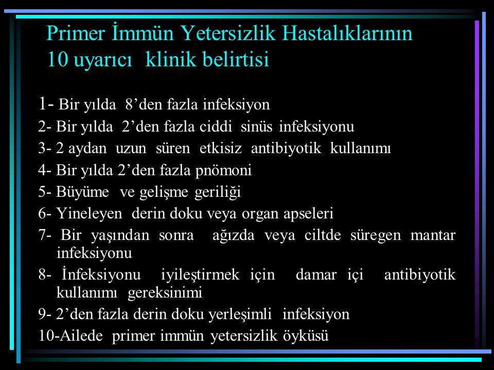 Geçaşırı deri duyarlık testleri( Kandidin, tetanoz, kabakulak, trikofiton, streptokinaz-streptodornaz) Total B ve T hücreleri, CD4+, CD8+, CD4+/CD8+ oranı Timus grafisi T Hücre ve Kombine immun yetersizlikler Ağır kombine immun yetersizlik (SCID) DiGeorge Anomalisi (Timik hipoplazi veya aplazi) Wiskott-Aldrich sendromu Ataxia-telangiektasia Kıkırdak saç hipoplazisi Kronik mukokutanöz kandidiazis
