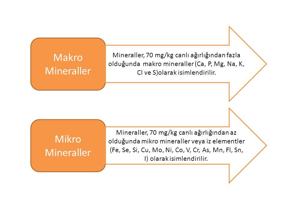 Makro Mineraller Mikro Mineraller Mineraller, 70 mg/kg canlı ağırlığından fazla olduğunda makro mineraller (Ca, P, Mg, Na, K, Cl ve S)olarak isimlendirilir.