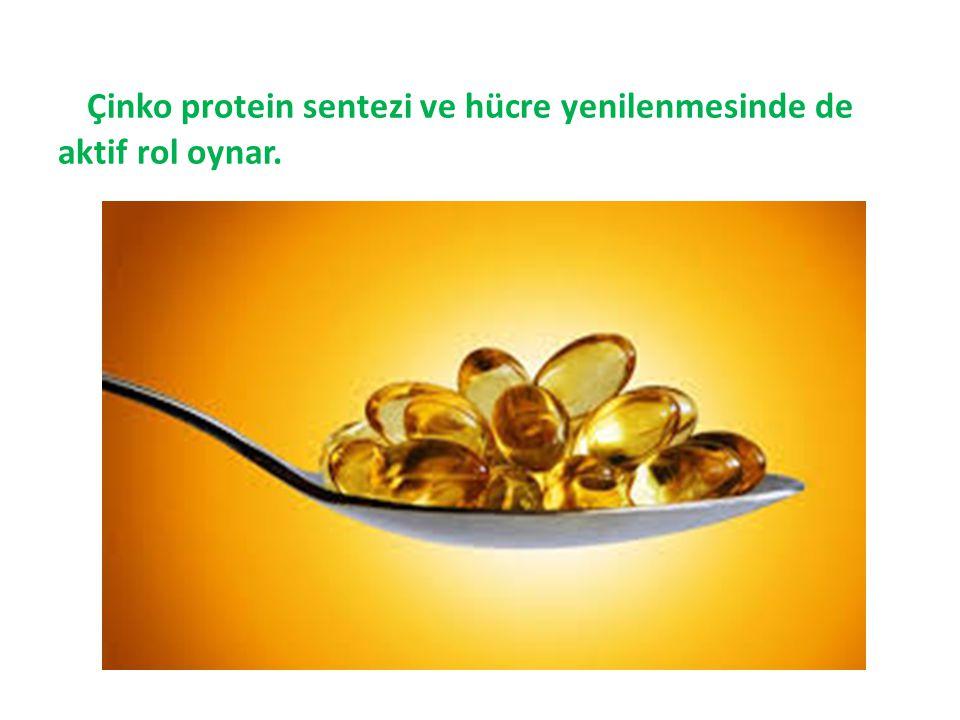 Çinko protein sentezi ve hücre yenilenmesinde de aktif rol oynar.