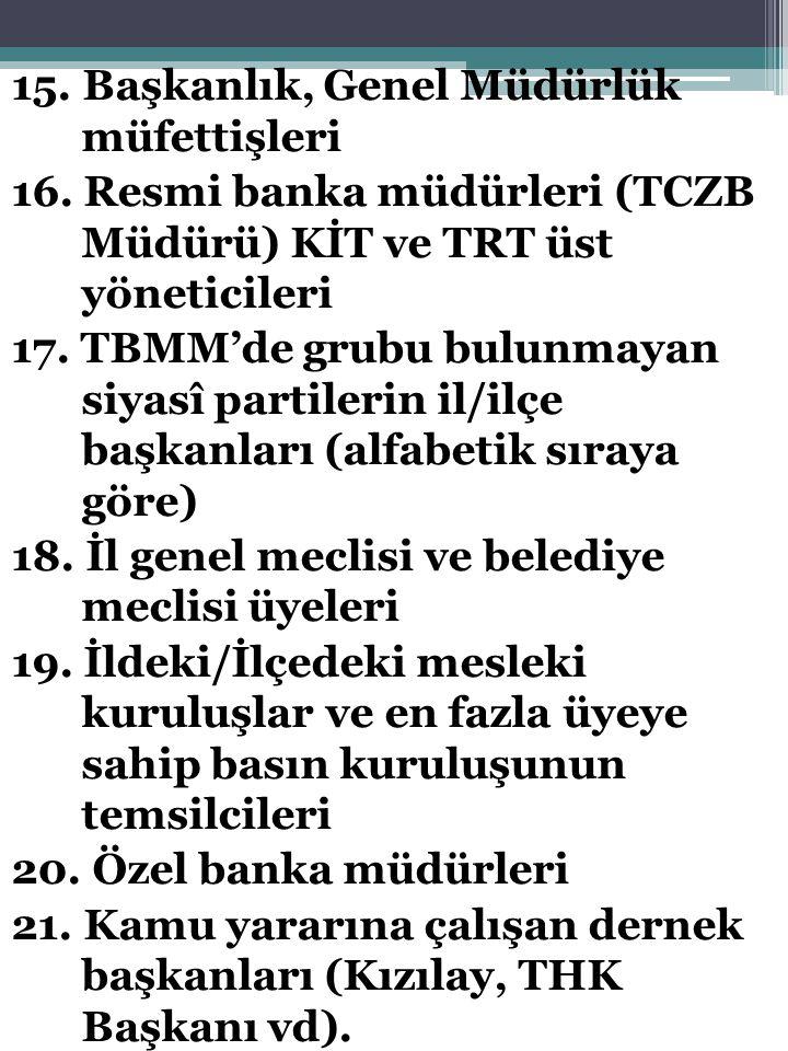15.Başkanlık, Genel Müdürlük müfettişleri 16.