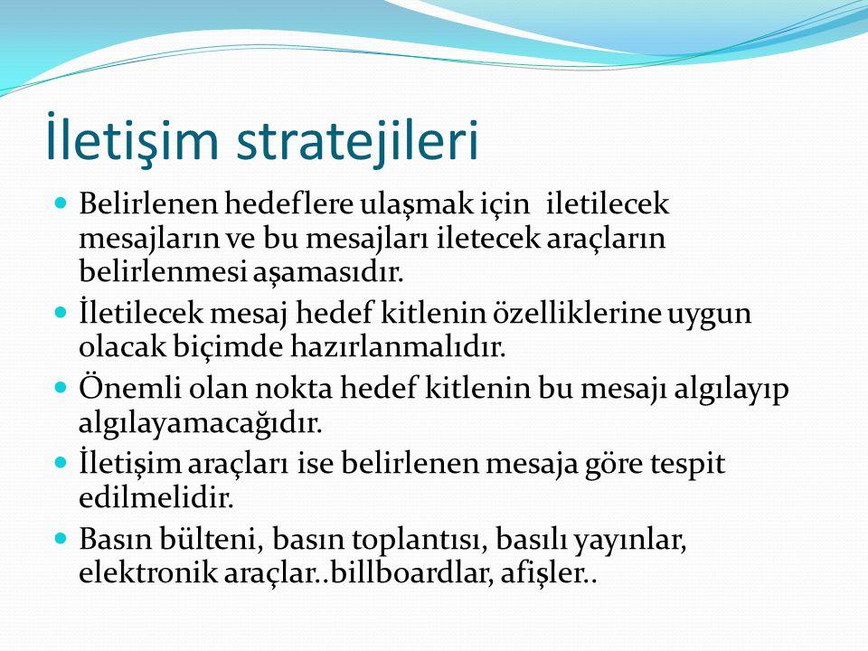 İletişim stratejileri Belirlenen hedeflere ulaşmak için iletilecek mesajların ve bu mesajları iletecek araçların belirlenmesi aşamasıdır.