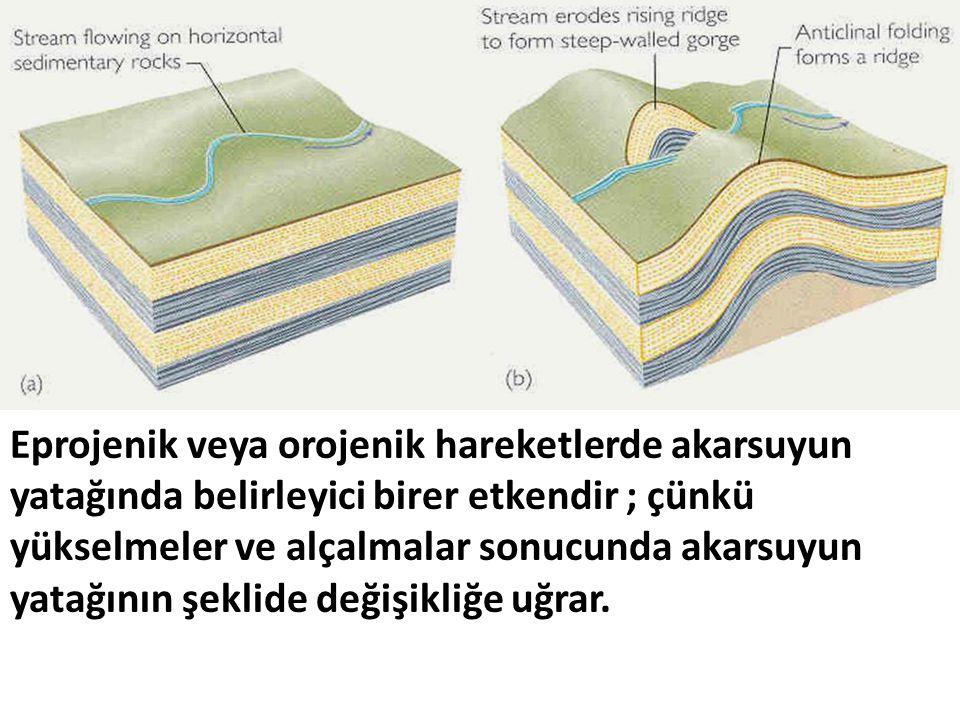 Eprojenik veya orojenik hareketlerde akarsuyun yatağında belirleyici birer etkendir ; çünkü yükselmeler ve alçalmalar sonucunda akarsuyun yatağının şe