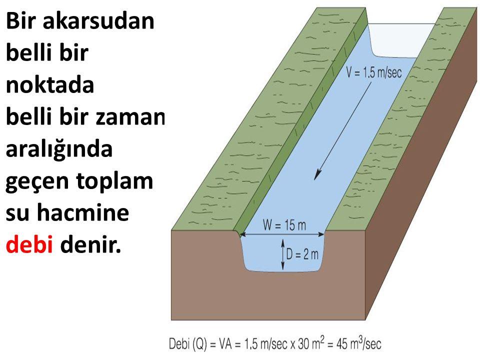 Bir akarsudan belli bir noktada belli bir zaman aralığında geçen toplam su hacmine debi denir.
