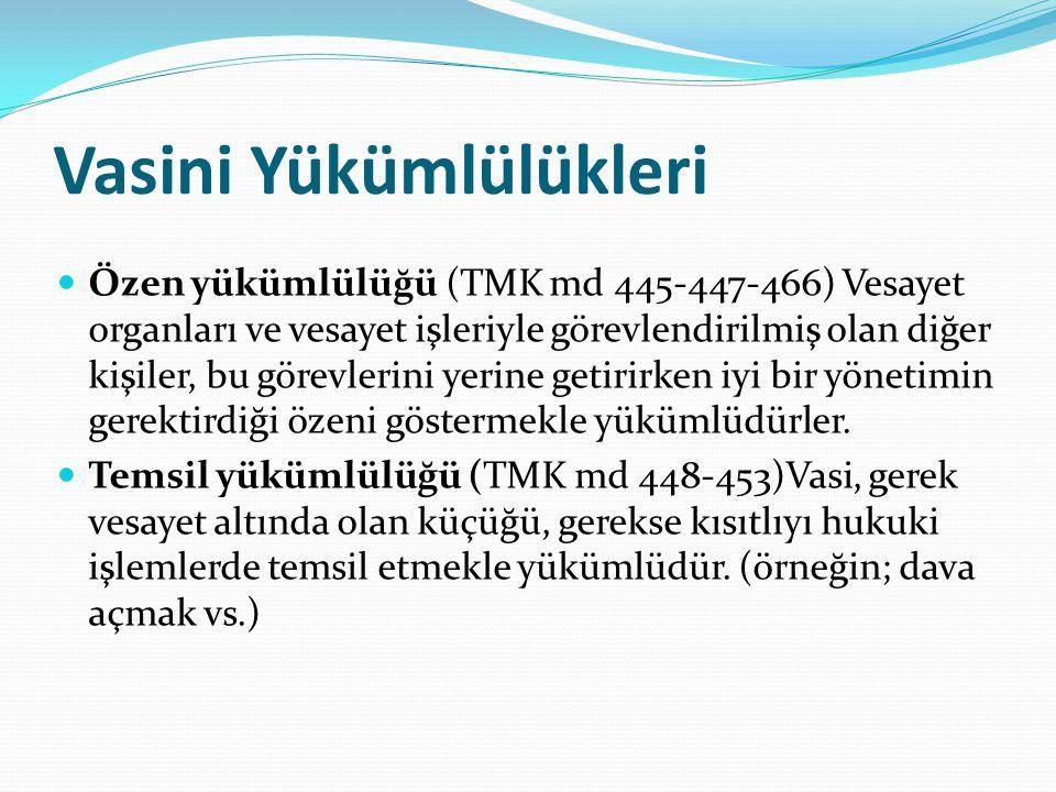 Vasini Yükümlülükleri Özen yükümlülüğü (TMK md 445-447-466) Vesayet organları ve vesayet işleriyle görevlendirilmiş olan diğer kişiler, bu görevlerini