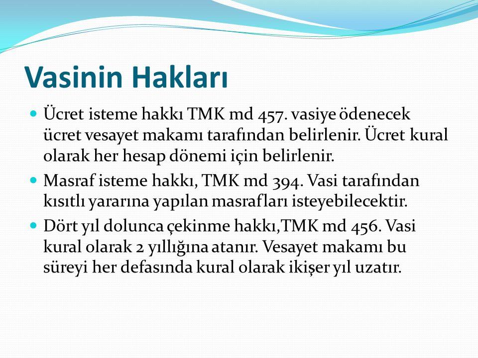 Vasinin Hakları Ücret isteme hakkı TMK md 457. vasiye ödenecek ücret vesayet makamı tarafından belirlenir. Ücret kural olarak her hesap dönemi için be