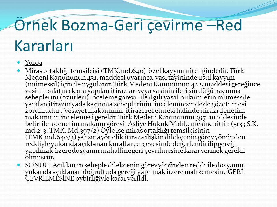 Örnek Bozma-Geri çevirme –Red Kararları Yu10a Miras ortaklığı temsilcisi (TMK.md.640) özel kayyım niteliğindedir. Türk Medeni Kanununun 431. maddesi u