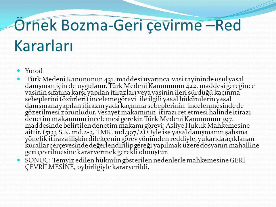 Örnek Bozma-Geri çevirme –Red Kararları Yu10d Türk Medeni Kanununun 431. maddesi uyarınca vasi tayininde usul yasal danışman için de uygulanır. Türk M