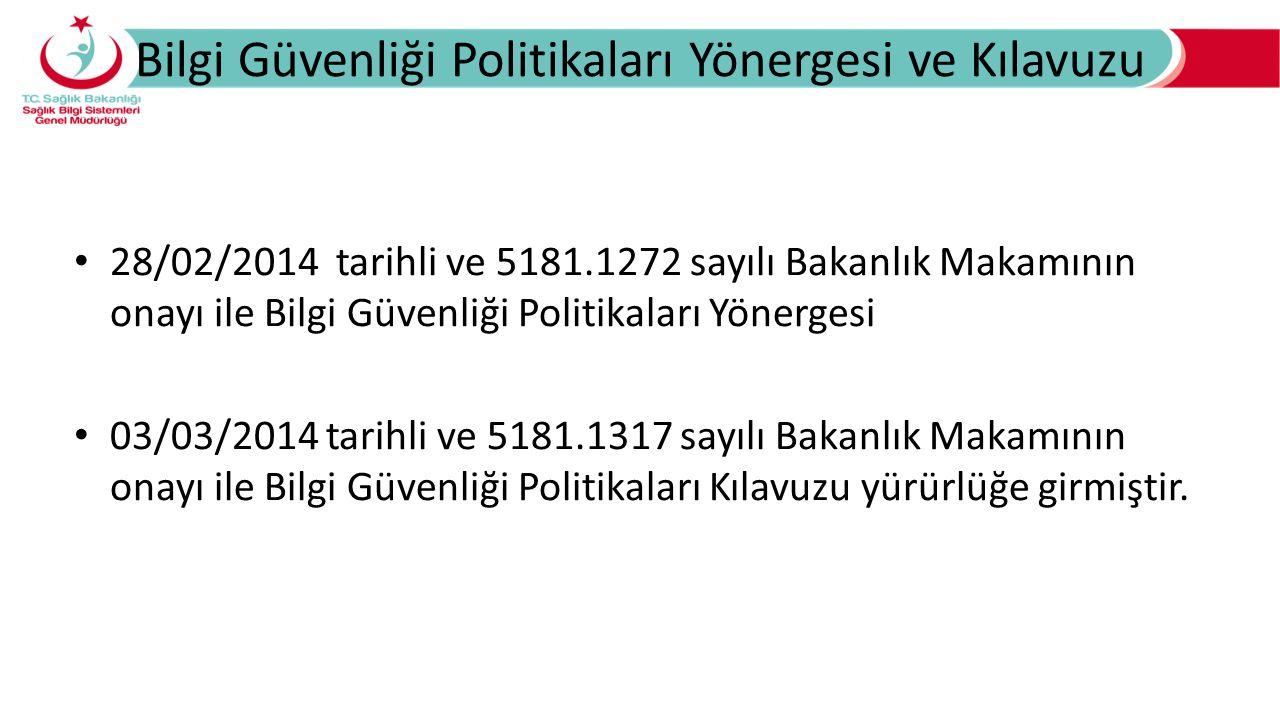 Bilgi Güvenliği Politikaları Yönergesi ve Kılavuzu 28/02/2014 tarihli ve 5181.1272 sayılı Bakanlık Makamının onayı ile Bilgi Güvenliği Politikaları Yö