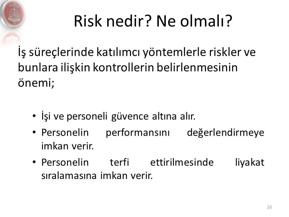 Risk nedir? Ne olmalı? 26 İş süreçlerinde katılımcı yöntemlerle riskler ve bunlara ilişkin kontrollerin belirlenmesinin önemi; İşi ve personeli güvenc