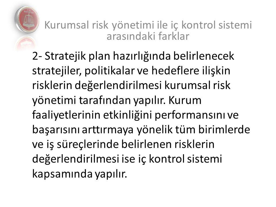 2- Stratejik plan hazırlığında belirlenecek stratejiler, politikalar ve hedeflere ilişkin risklerin değerlendirilmesi kurumsal risk yönetimi tarafından yapılır.
