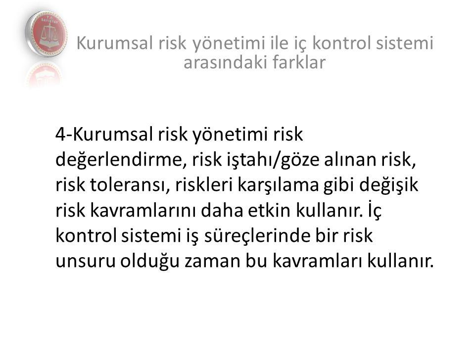 4-Kurumsal risk yönetimi risk değerlendirme, risk iştahı/göze alınan risk, risk toleransı, riskleri karşılama gibi değişik risk kavramlarını daha etkin kullanır.