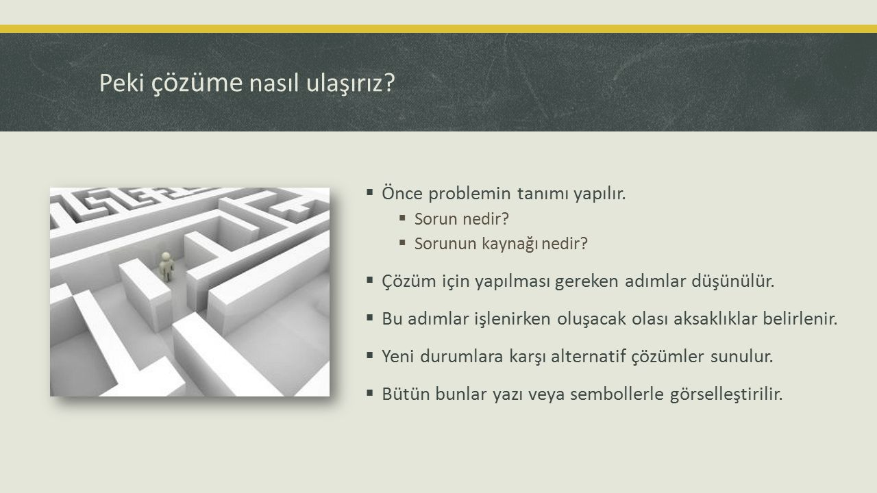 Peki çözüme nasıl ulaşırız?  Önce problemin tanımı yapılır.  Sorun nedir?  Sorunun kaynağı nedir?  Çözüm için yapılması gereken adımlar düşünülür.