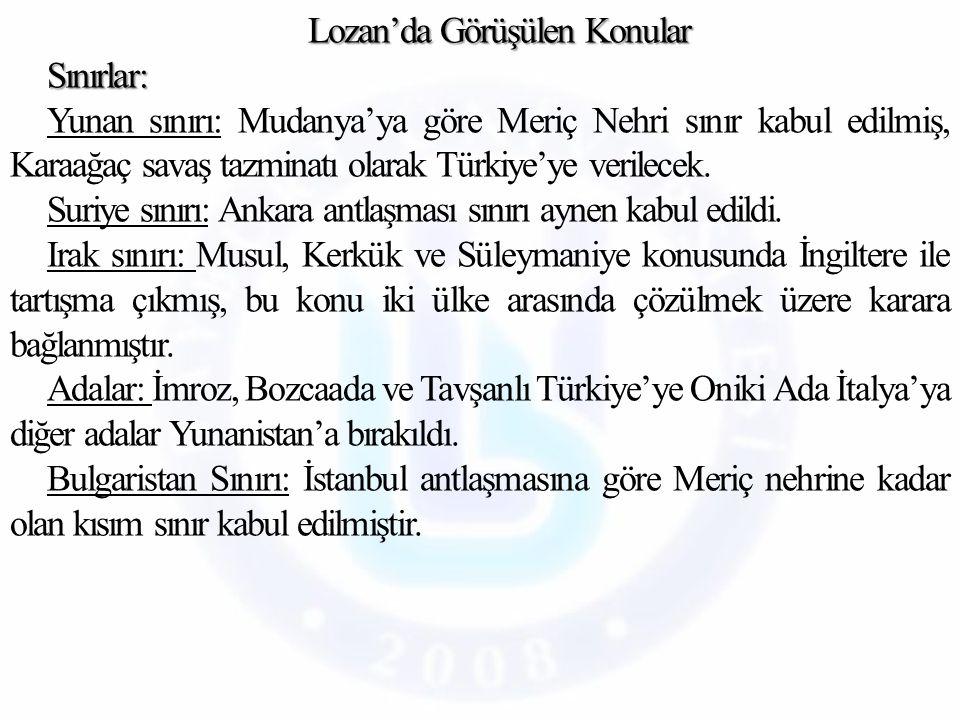 Borçlar ve Savaş Tazminatı: Borçlar ve Savaş Tazminatı: Osmanlı Devleti'nin savaş boyunca aldığı borçlar Osmanlı'dan ayrılan devletlere eşit şekilde bölüştürüldü.