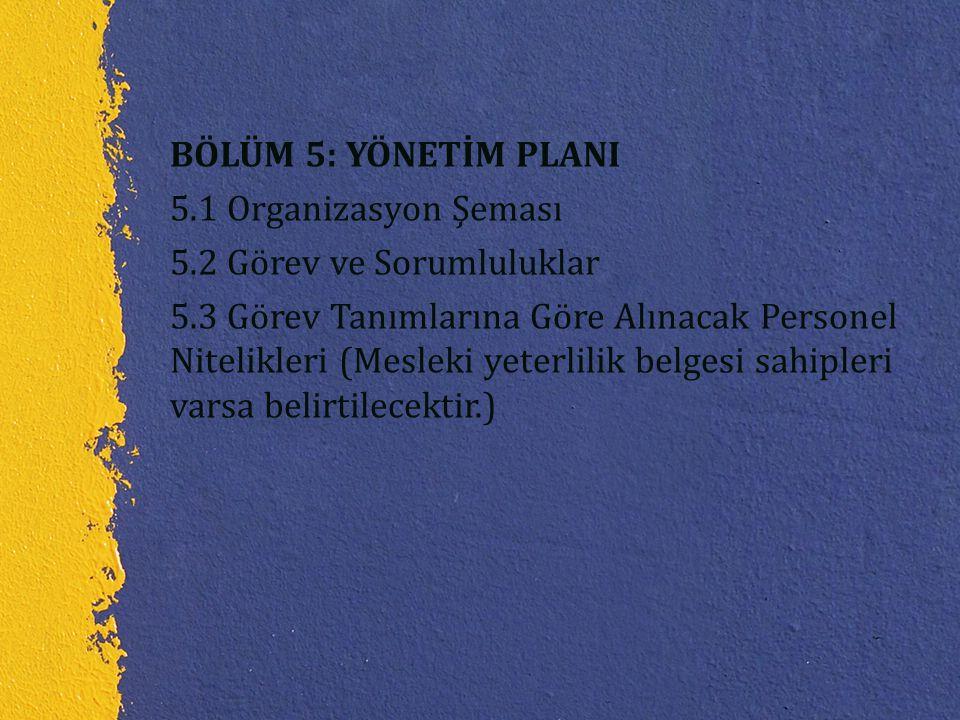 BÖLÜM 5: YÖNETİM PLANI 5.1 Organizasyon Şeması 5.2 Görev ve Sorumluluklar 5.3 Görev Tanımlarına Göre Alınacak Personel Nitelikleri (Mesleki yeterlilik