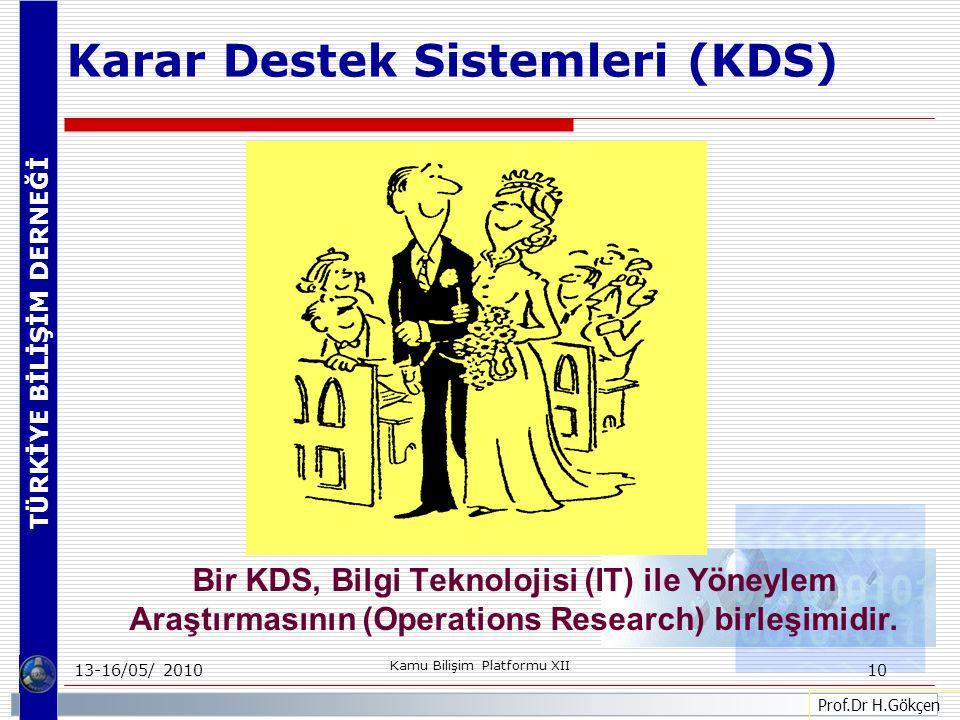 TÜRKİYE BİLİŞİM DERNEĞİ 13-16/05/ 2010 Kamu Bilişim Platformu XII 10 Prof.Dr H.Gökçen Bir KDS, Bilgi Teknolojisi (IT) ile Yöneylem Araştırmasının (Operations Research) birleşimidir.