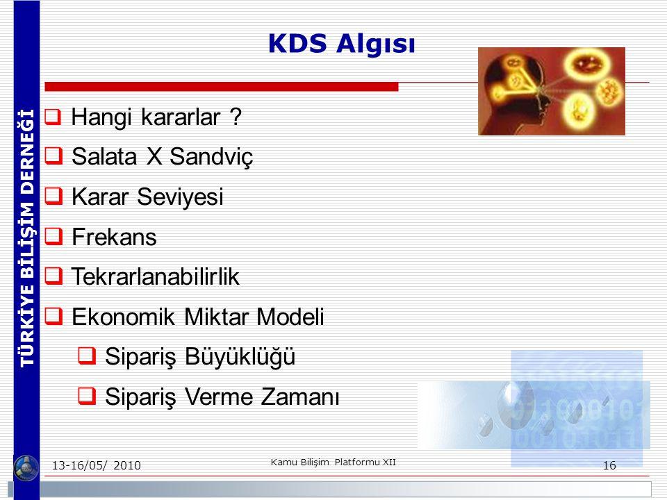 TÜRKİYE BİLİŞİM DERNEĞİ 13-16/05/ 2010 Kamu Bilişim Platformu XII 16  Hangi kararlar .