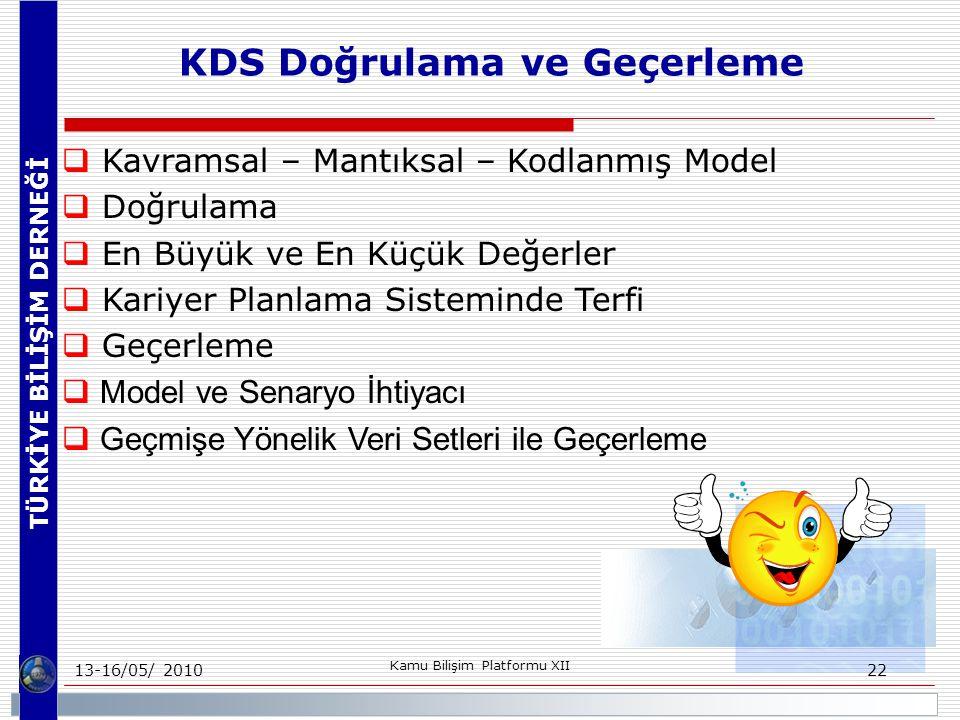 TÜRKİYE BİLİŞİM DERNEĞİ 13-16/05/ 2010 Kamu Bilişim Platformu XII 22  Kavramsal – Mantıksal – Kodlanmış Model  Doğrulama  En Büyük ve En Küçük Değerler  Kariyer Planlama Sisteminde Terfi  Geçerleme  Model ve Senaryo İhtiyacı  Geçmişe Yönelik Veri Setleri ile Geçerleme KDS Doğrulama ve Geçerleme