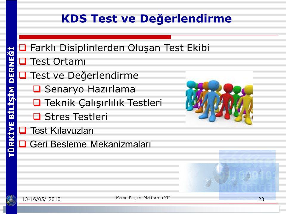TÜRKİYE BİLİŞİM DERNEĞİ 13-16/05/ 2010 Kamu Bilişim Platformu XII 23  Farklı Disiplinlerden Oluşan Test Ekibi  Test Ortamı  Test ve Değerlendirme  Senaryo Hazırlama  Teknik Çalışırlılık Testleri  Stres Testleri  Test Kılavuzları  Geri Besleme Mekanizmaları KDS Test ve Değerlendirme