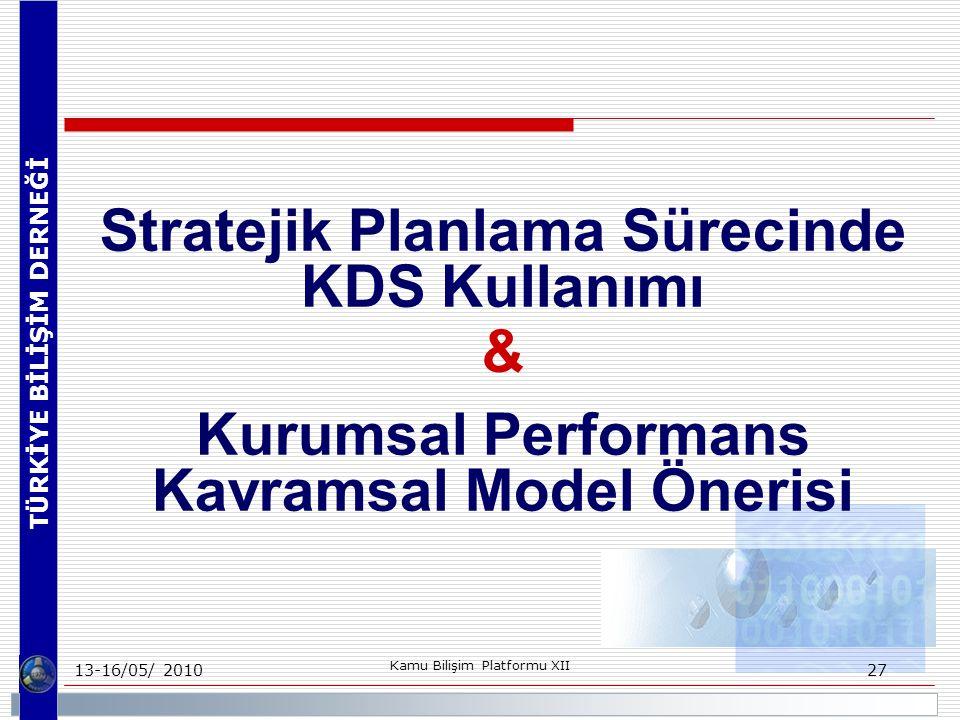 TÜRKİYE BİLİŞİM DERNEĞİ 13-16/05/ 2010 Kamu Bilişim Platformu XII 27 Stratejik Planlama Sürecinde KDS Kullanımı & Kurumsal Performans Kavramsal Model Önerisi