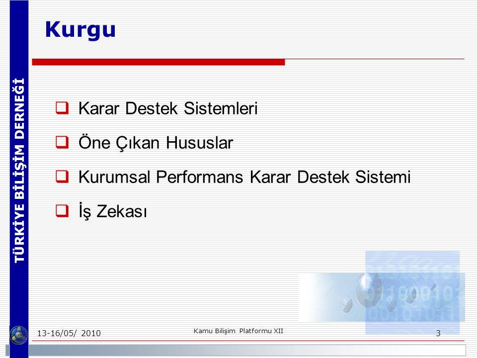 TÜRKİYE BİLİŞİM DERNEĞİ 13-16/05/ 2010 Kamu Bilişim Platformu XII 3 Kurgu  Karar Destek Sistemleri  Öne Çıkan Hususlar  Kurumsal Performans Karar Destek Sistemi  İş Zekası