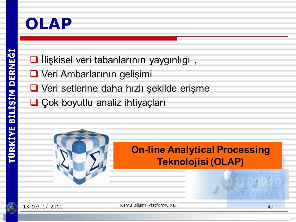 TÜRKİYE BİLİŞİM DERNEĞİ 13-16/05/ 2010 Kamu Bilişim Platformu XII 43 OLAP  İlişkisel veri tabanlarının yaygınlığı,  Veri Ambarlarının gelişimi  Veri setlerine daha hızlı şekilde erişme  Çok boyutlu analiz ihtiyaçları On-line Analytical Processing Teknolojisi (OLAP)
