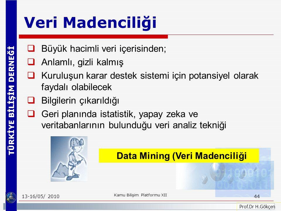 TÜRKİYE BİLİŞİM DERNEĞİ 13-16/05/ 2010 Kamu Bilişim Platformu XII 44  Büyük hacimli veri içerisinden;  Anlamlı, gizli kalmış  Kuruluşun karar destek sistemi için potansiyel olarak faydalı olabilecek  Bilgilerin çıkarıldığı  Geri planında istatistik, yapay zeka ve veritabanlarının bulunduğu veri analiz tekniği Prof.Dr H.Gökçen Veri Madenciliği Data Mining (Veri Madenciliği