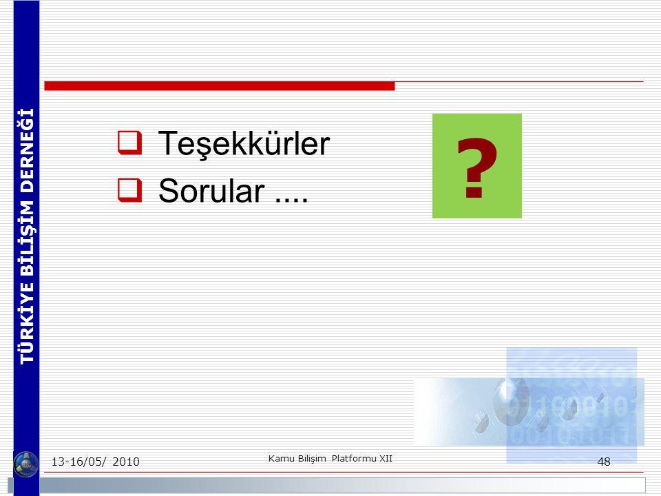 TÜRKİYE BİLİŞİM DERNEĞİ 13-16/05/ 2010 Kamu Bilişim Platformu XII 48 ?  Teşekkürler  Sorular....