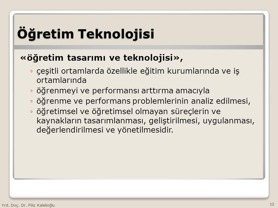 Öğretim Teknolojisi «öğretim tasarımı ve teknolojisi», ◦çeşitli ortamlarda özellikle eğitim kurumlarında ve iş ortamlarında ◦öğrenmeyi ve performansı